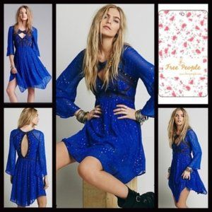 free people Embroidered Chiffon Boho Dress NWOT